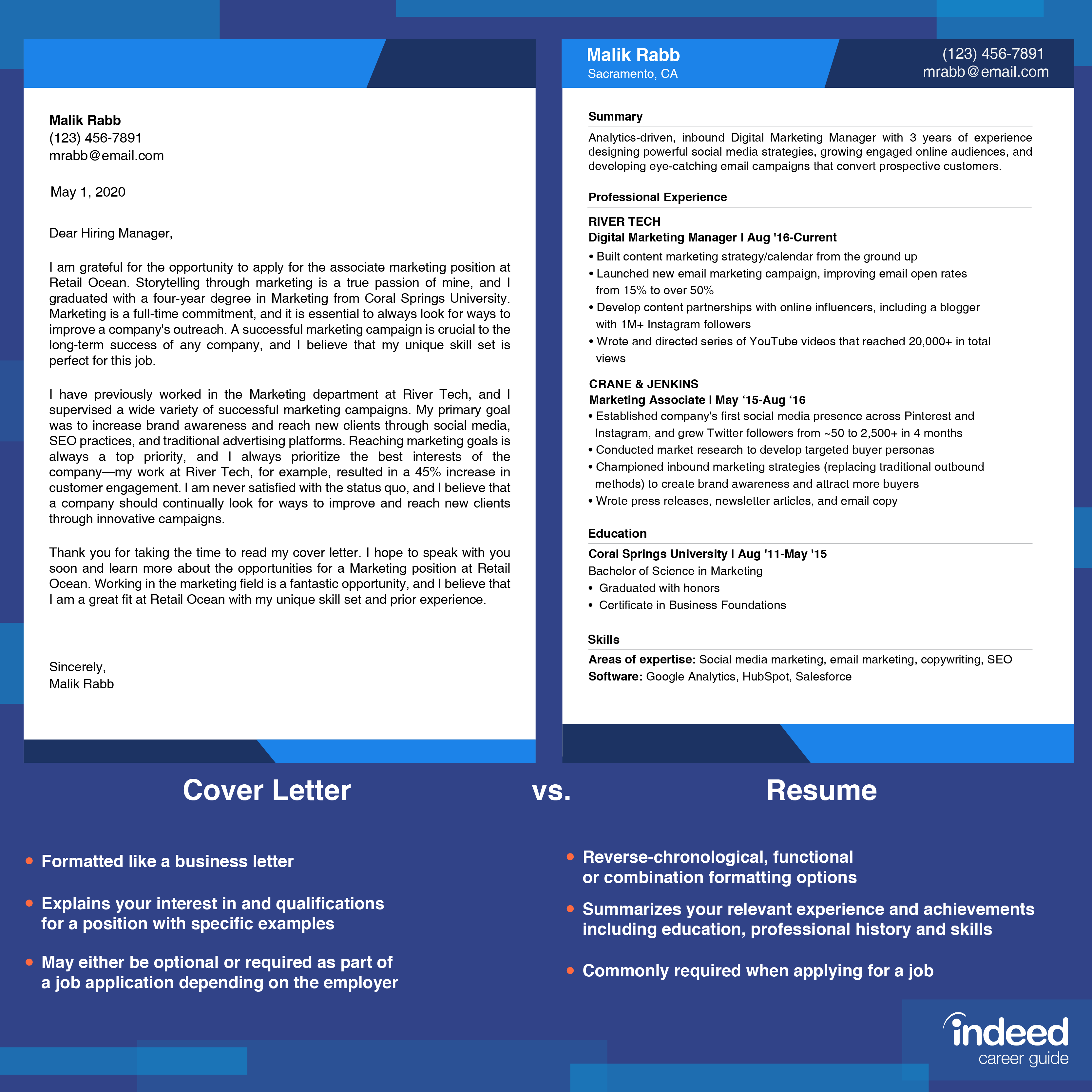 Resume vs. Cover Letter: What\'s the Difference? | Indeed.com